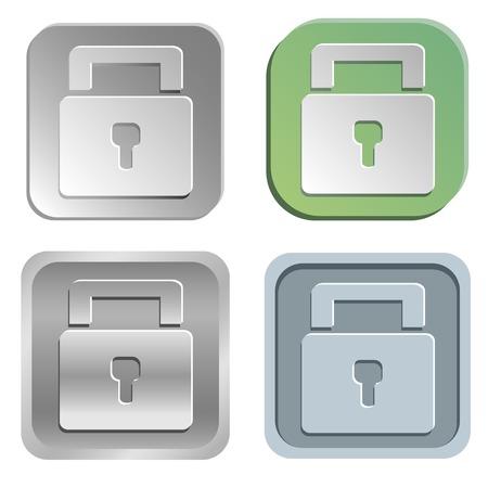 padlock: Vector padlock buttons