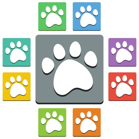 Vector paw print icons - almost flat style - 9 colors Vector