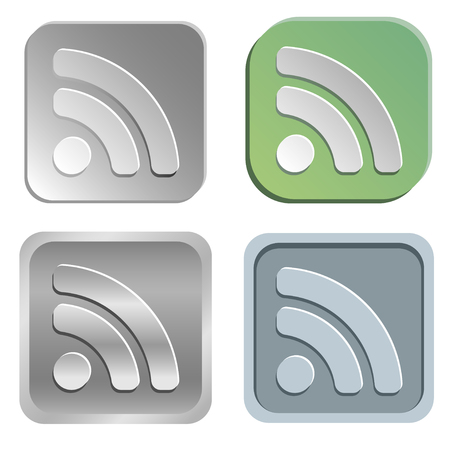 subscribe: Vector rss buttons - four styles