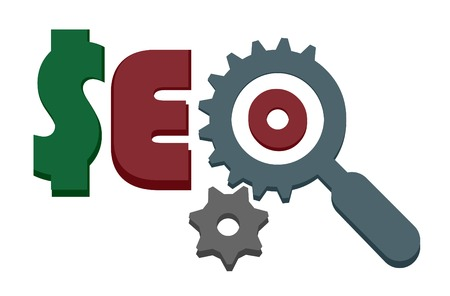 search engine optimized: seo sign with magnigying glass and gears