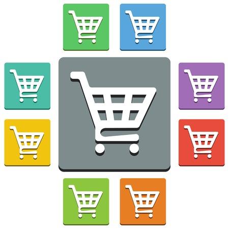 carro supermercado: Vector cesta de la compra iconos - estilo 'casi plana' - 9 colores