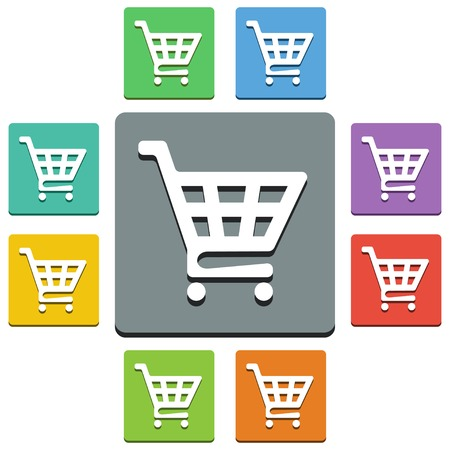 trolley: Vector shopping cart icons - almost flat style - 9 colors Illustration