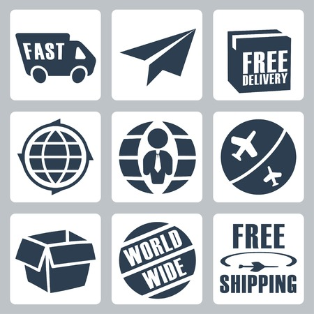 Vector isolated shipping icons set Vector