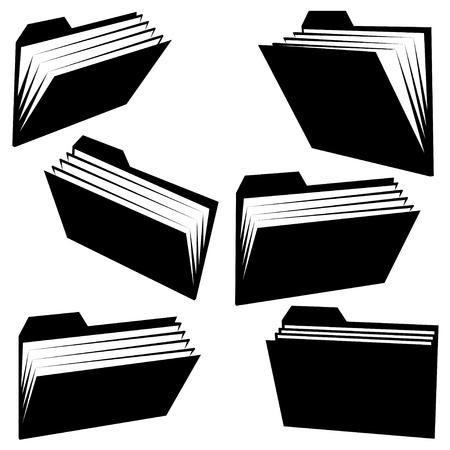 black pictogram: folder silhouettes on white background
