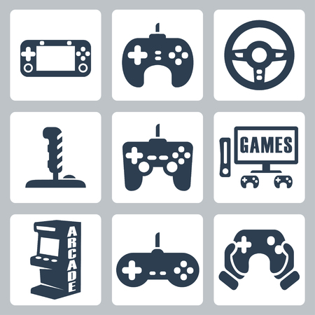 handheld device: video games icons set Illustration