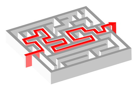 Maze puzzle solved by red arrow Vector