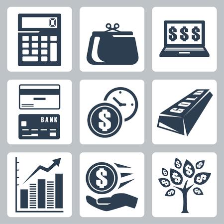 diagrama de arbol: Oscuros iconos de dinero conjunto azul Vectores