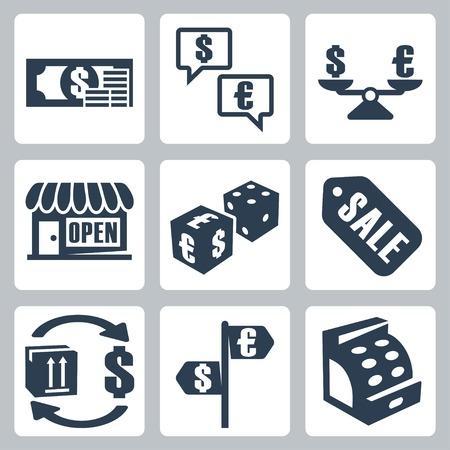 moneyshopping isolated icons set Vector