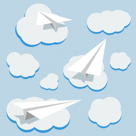 background with paper planes and clouds Vector