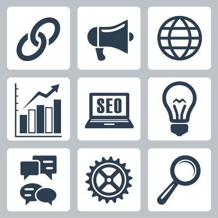 isolated seo icons set #1 Vector
