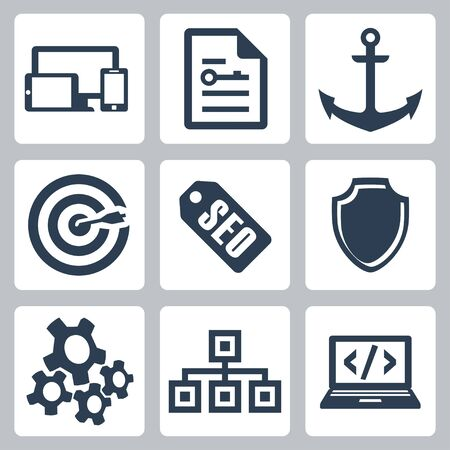 isolated seo icons set #2 Vector