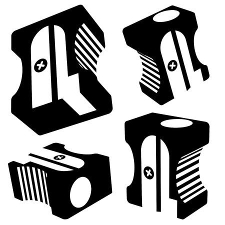writing equipment: sharpener silhouettes on white background