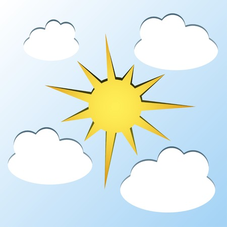 cutouts: sun and clouds - paper cutouts Illustration