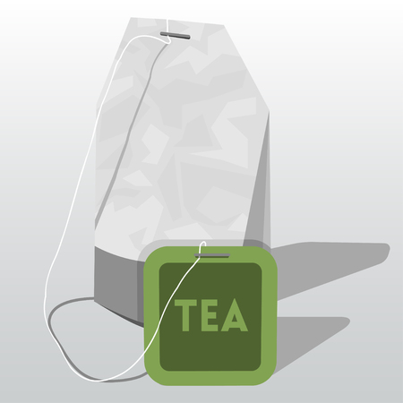 teatime: illustration of tea bag with  label Illustration