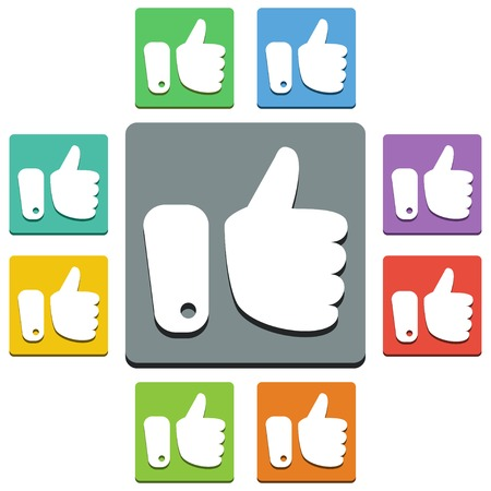 approval button: thumbs up icons - almost flat style - 9 colors