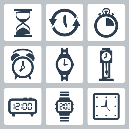 isolated clocks icons set Vector