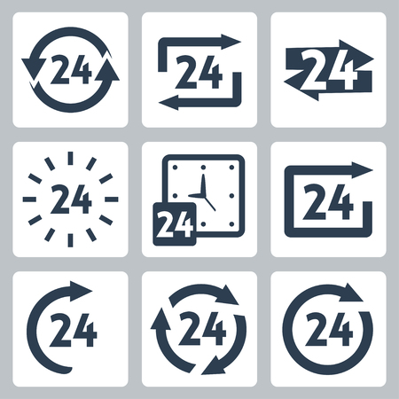 24 hours: 24 hours icons set Illustration