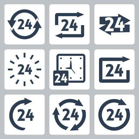 24h: 24 hours icons set Illustration