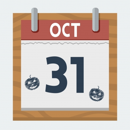 october 31: calendar icon for 31 october in flat style