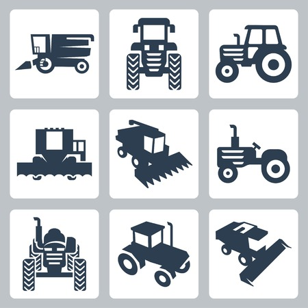 wheeled tractor: isolated tractor and combine harvester icons