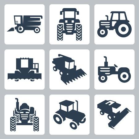 équipement: tracteur isolé et combiner des icônes de pêcheurs
