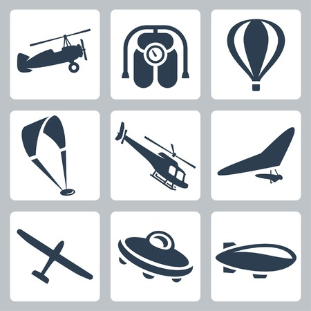 air sport: Vector aircrafts icons set: autogyro, jet pack, air baloon, paraglider, helicopter, hang-glider, glider, flying saucer, airship