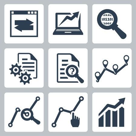 Vector data analysis icons set Vector