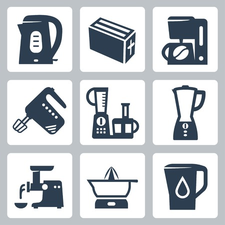 water filter: kitchen appliances icons set Illustration