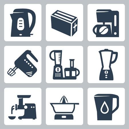 juicer: kitchen appliances icons set Illustration