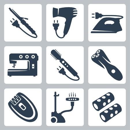 appareils de soins de beauté et du vêtement fer à friser, sèche-cheveux, fer à repasser, machine à coudre, sèche-cheveux à la brosse, rasoir électrique, épilateur, vapeur verticale, bigoudis Vecteurs
