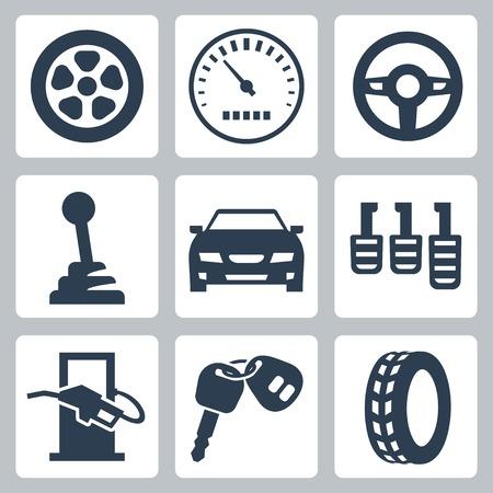 icônes automobiles isolé Ensemble Vecteurs