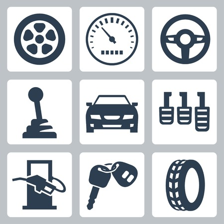 filling station: isolated auto icons set Illustration