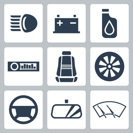 fluid: auto parts icons set