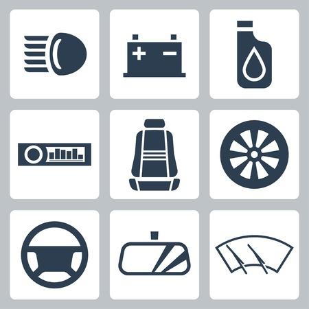 baterii: Ikony ustaw części samochodowe Ilustracja