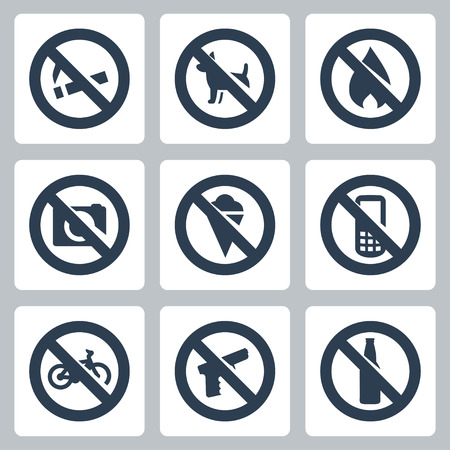 Vector  prohibitory signs  icons set  no smoking, no dogs, no fire, no cameras, no icecream, no cell phones, no bicycles, no guns, no alcohol Vector