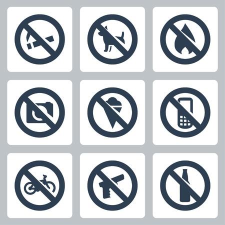 prohibido fumar: Vector señales prohibitivas iconos conjunto no fumar, no perros, no hay fuego, no hay cámaras, no helado, ni teléfonos móviles, ni bicicletas, no hay armas, no alcohol
