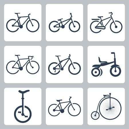 freeride: aislados bicicletas iconos conjunto Vectores