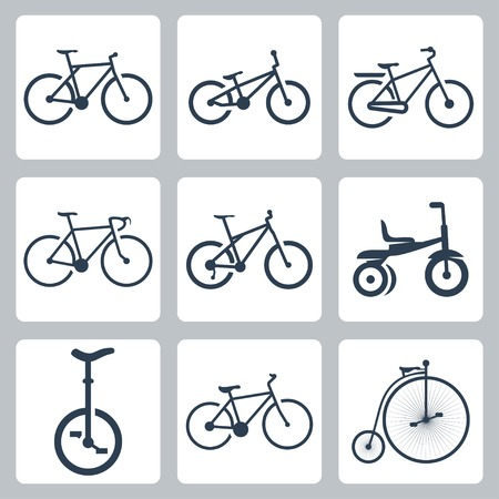 isolated bicycles icons set Vector