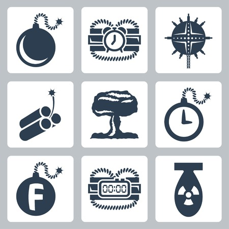 munition: Vector isolated bombs icons set