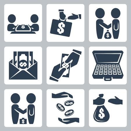 enten: Vector geïsoleerd smeergeld koopje pictogrammen instellen Stock Illustratie