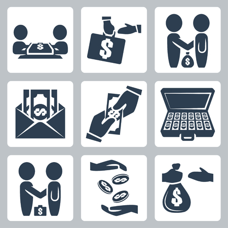 Vector isolated bribe bargain icons set Vector