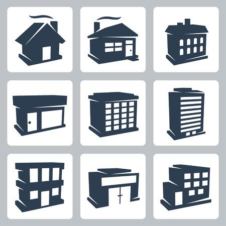 geïsoleerde gebouwen pictogrammen instellen Stock Illustratie