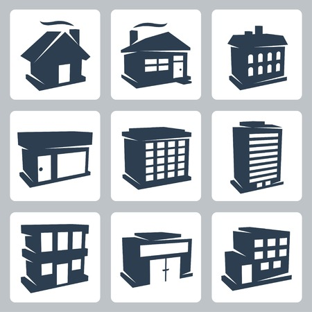 isolated buildings icons set Vector