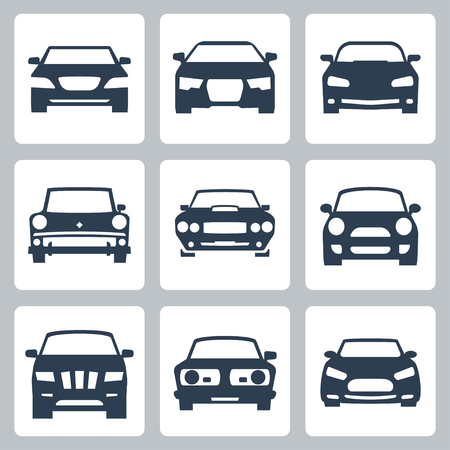car front: Vector isolated cars icons set Illustration