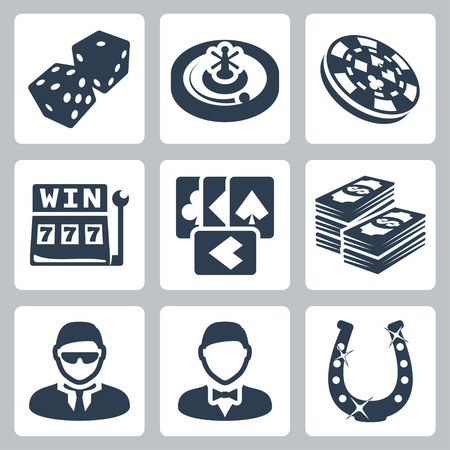 Vector isolated casino and gambling icons set Vector