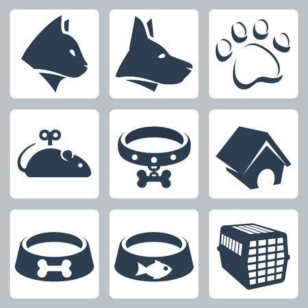 háziállat: kisállat ikonok beállítása macska, kutya, pawprint, egér, gallér, kennel, tálak, ketrec Illusztráció