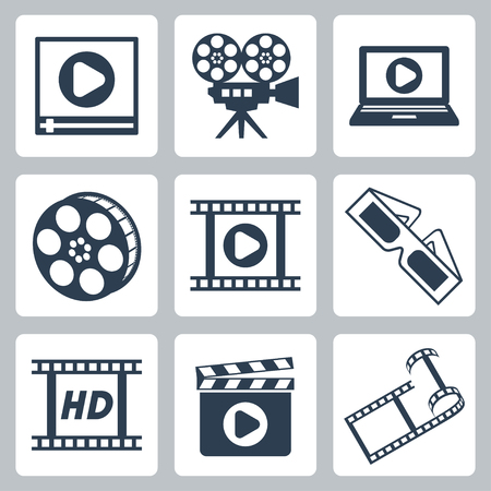 isolated cinema video icons set Vector