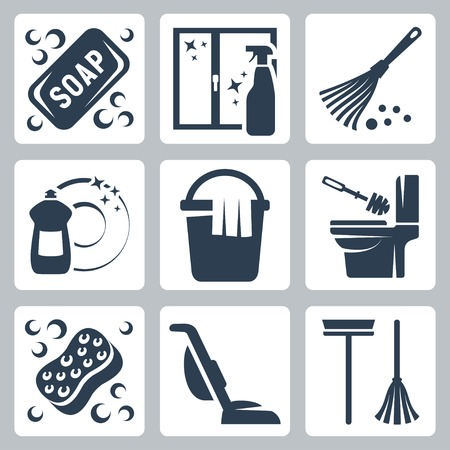 cleaning icons set  soap, window cleaner, duster, dishwashing liquid, bucket and cloth, toilet brush and flush toilet, sponge, vacuum cleaner, mop Vector