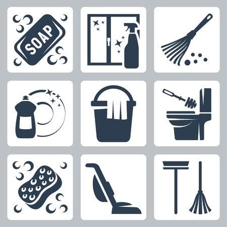 dish washing: Icone set di pulizia sapone, detergente per vetri, spolverino, detersivo per piatti, secchio e straccio, scopino e sciacquone del bagno, spugna, aspirapolvere, mocio Vettoriali