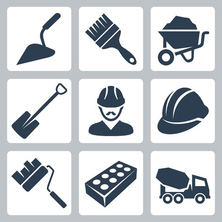 trowel: Vector isolated construction icons set